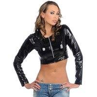 High Quality PVC Motorcycle Sexy Tops Women Long Sleeve Zip Open Front Crop Top Ladies Shiny Night Club Wear Fashion Streetwear