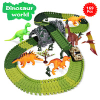 169 pcs Magical track Set DIY Racing track funny Dinosaur Jurassic World Toys Creative Educational Gift for children