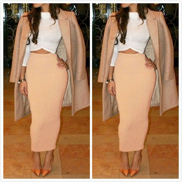 49c6669ca4 Office Lady Fashion High Waist Elegant Slim Long Pencil Skirt Nude Ankle  Length Sexy Package Hip Skirts Women Night Club Skirts