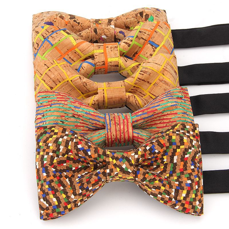 YISHLINE Luxury Cork Wood Men's Bow Tie Wooden Bow Ties Handmade Plaids Bowtie For Men Wedding Party Accessories Neckwear