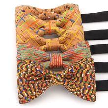 YISHLINE Luxury Cork Wood Men's Bow Tie Wooden Bow Ties Handmade Plaids Bowtie For Men Wedding Party Accessories Neckwear