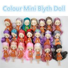 Moda estilo mini blyth boneca cor do cabelo médio penteado nu fábrica boneca moda menina brinquedos 11cm sem roupas