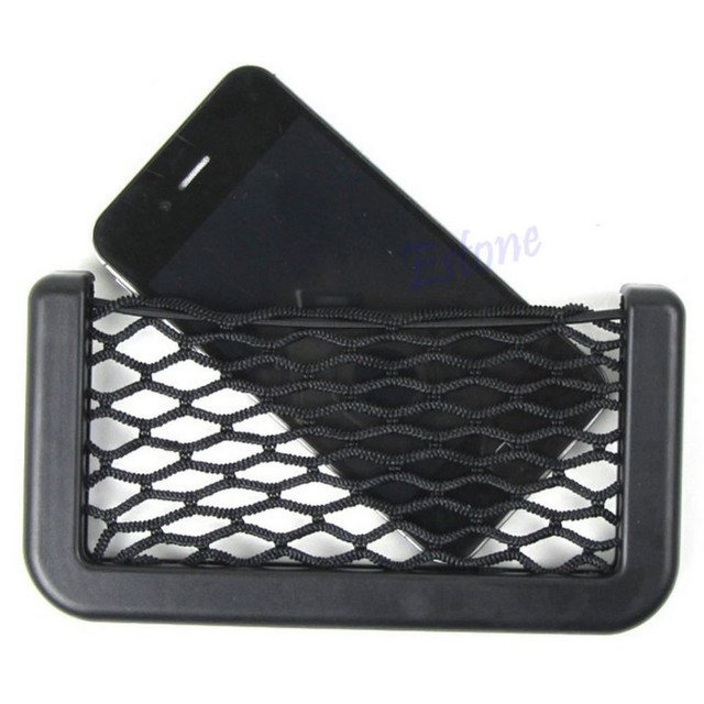 Hot Auto Car Vehicle Storage Nets Resilient String Bag Phone holder Pocket Organizer Car Interior Stowing Tidying Black C45