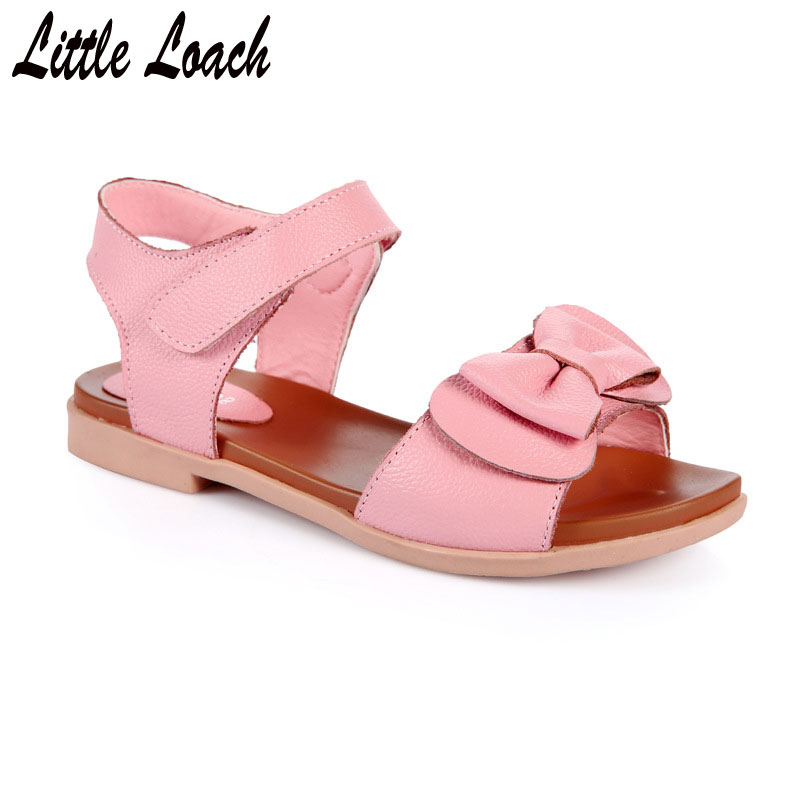 Summer Sandals for Girls Genuine Leather Floral Shoes Lightweight Anti-slippery Beach Sandals Pink White Size 27-37 Footwear