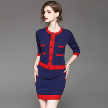 American Style 2017 Women s font b Fashion b font Winter Patchwork Pockets Single Breasted Knitted