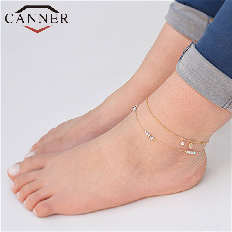 CANNER Bohemia 2 Pcs/set Colorful Beads Imitation Pearls Anklet Bracelet Fashion Gold Color Women Anklets TW
