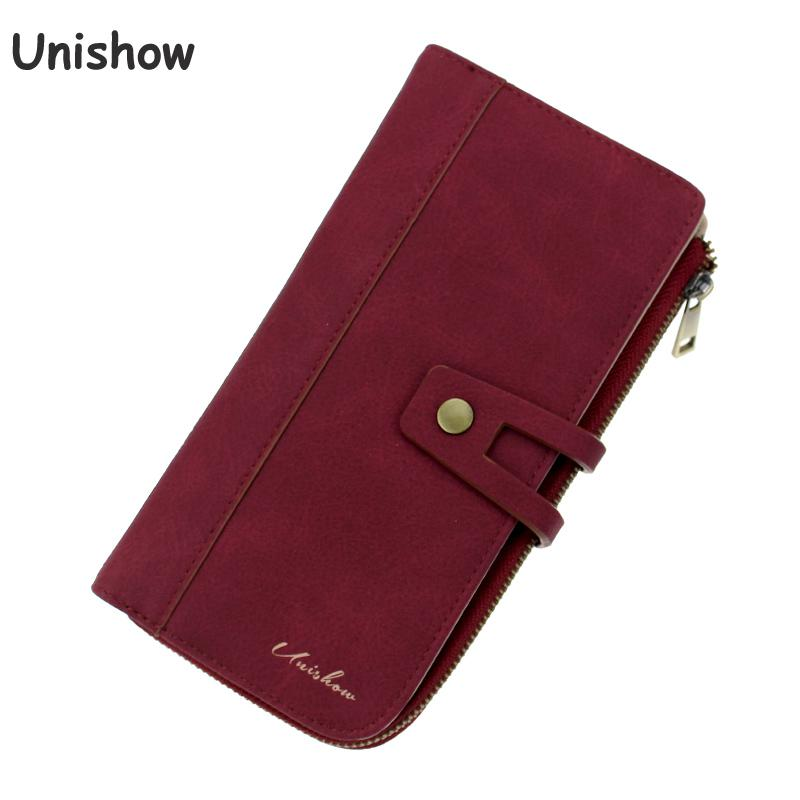 Unishow Wallet Women Long Female Purse Matte Pu Leather Ladies Wallet Brand Women Phone Clutch Purse Big Capacity Card Holders