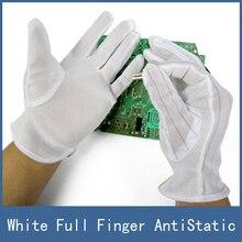 10 Пар Оптовая Белый Цвет Полный Finger Anti-Static Рабочие Перчатки, подходит Для Электронного Тестирования Компьютера Ремонт работник