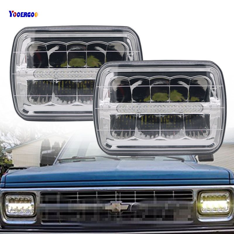1Pair Hi/Lo Beam 7inch 5x7 Square light LED Headlights With White DRL For 1988-1990 Dodge Ramcharger, 1984-2001 Jeep Cherokee XJ hjyueng 45w for jeep wrangler 7inch led front headlights replacement with hi lo beam black 4inch fog lights lamp white halo