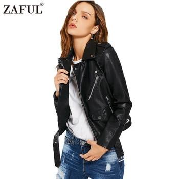 ZAFUL Women Faux Leather Jackets Zipper Pockets Belted Soft Motorcycle Jacket Sexy Punk Coat Autumn Winter Casual Outwear Tops leather jacket