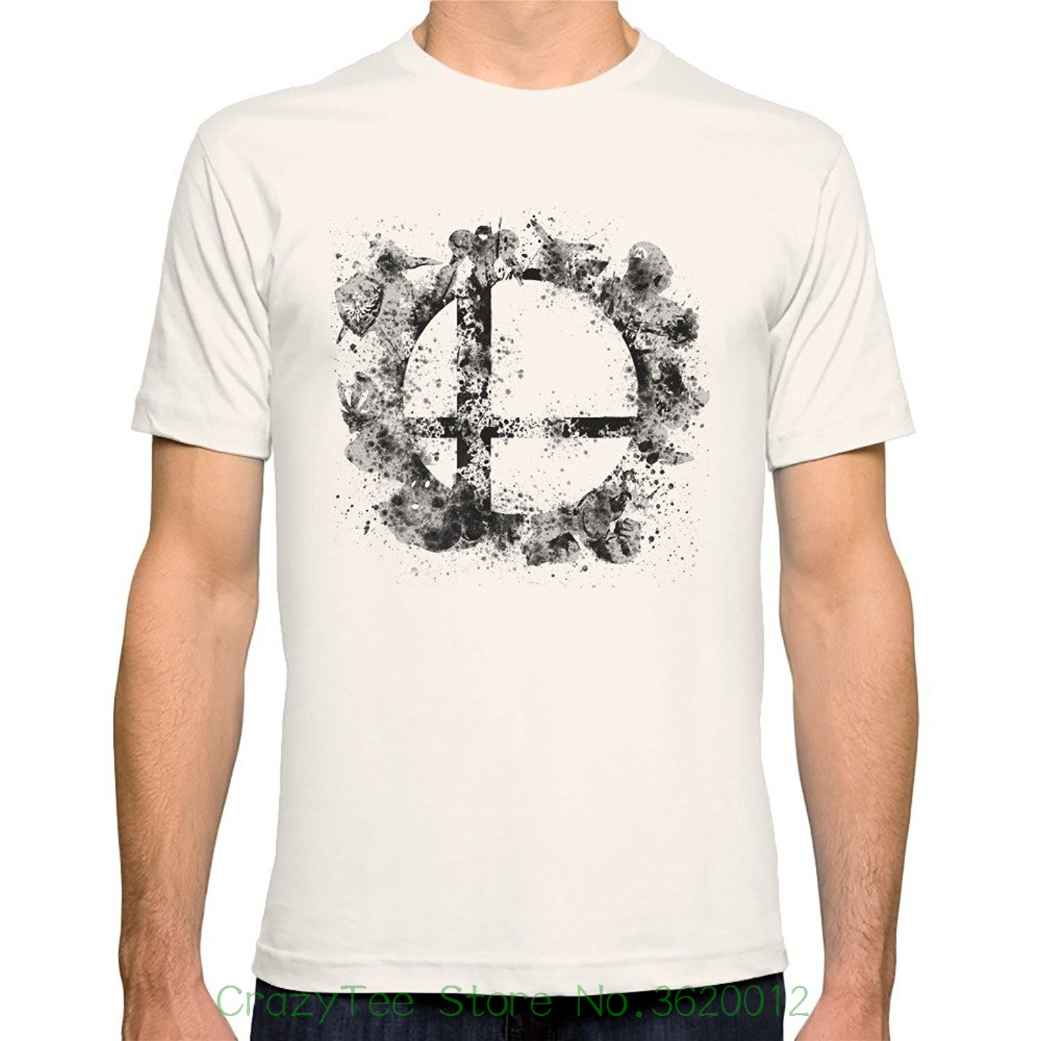 Loose Cotton T-shirts For Men Cool Tops T Shirts Men's Super Smash Bros Ink Splatter Fitted Tee