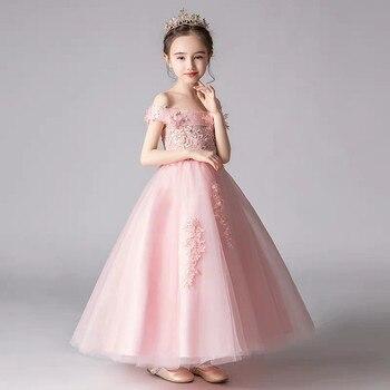 2019 Hot-sales Luxury Children Girls pink Color Princess Birthday Wedding Party Long Dress Kids Christmas Halloween Lace Dress