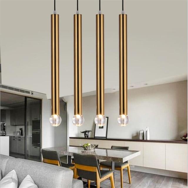 Modern Crystal Aluminum Pipe Led E14 Pendant Light Drop Lighting For Dining Room Living Bedroom Bedside H 50cm 2135
