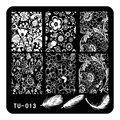 5.9 cm Pluma Flor Abstracta Patrón Nail Art Placas Estampación Sello DIY Plantilla Manicura Esmalte de Uñas Herramientas TU-013