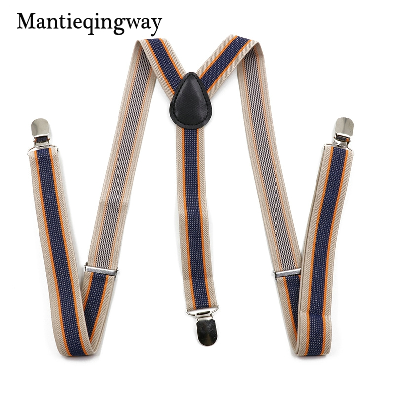 2017 Women Men Suits Elastic Striped PU Leather 3 Clip Suspenders Belt Strap