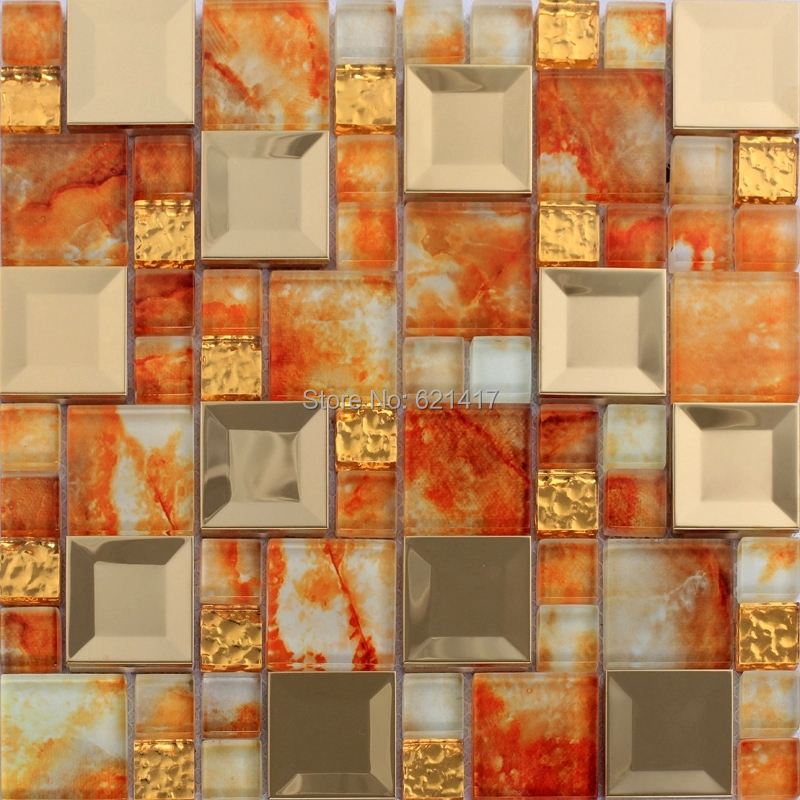 Kitchen Wall Tile Backsplash: Orange Color Glass Mosaic Mixed Golden Stainless Steel