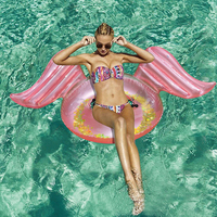105cm Giant Glitter Angel Wing Rose Gold Inflatable Pool Float For Women Swimming Ring Adult Air Mattress Water Toy boia piscina