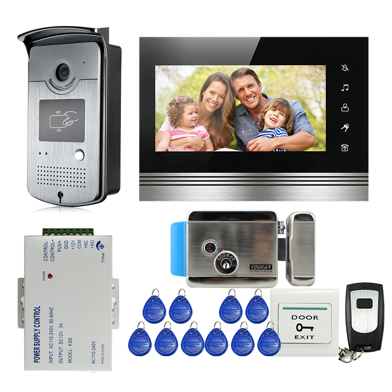FREE SHIPPING NEW 7 Touch Button Video Intercom Door Phone System Monitor + Waterproof RFID Reader Door Camera + Electric Lock jeruan home 7 video door phone intercom system kit rfid waterproof touch key password keypad camera remote control in stock