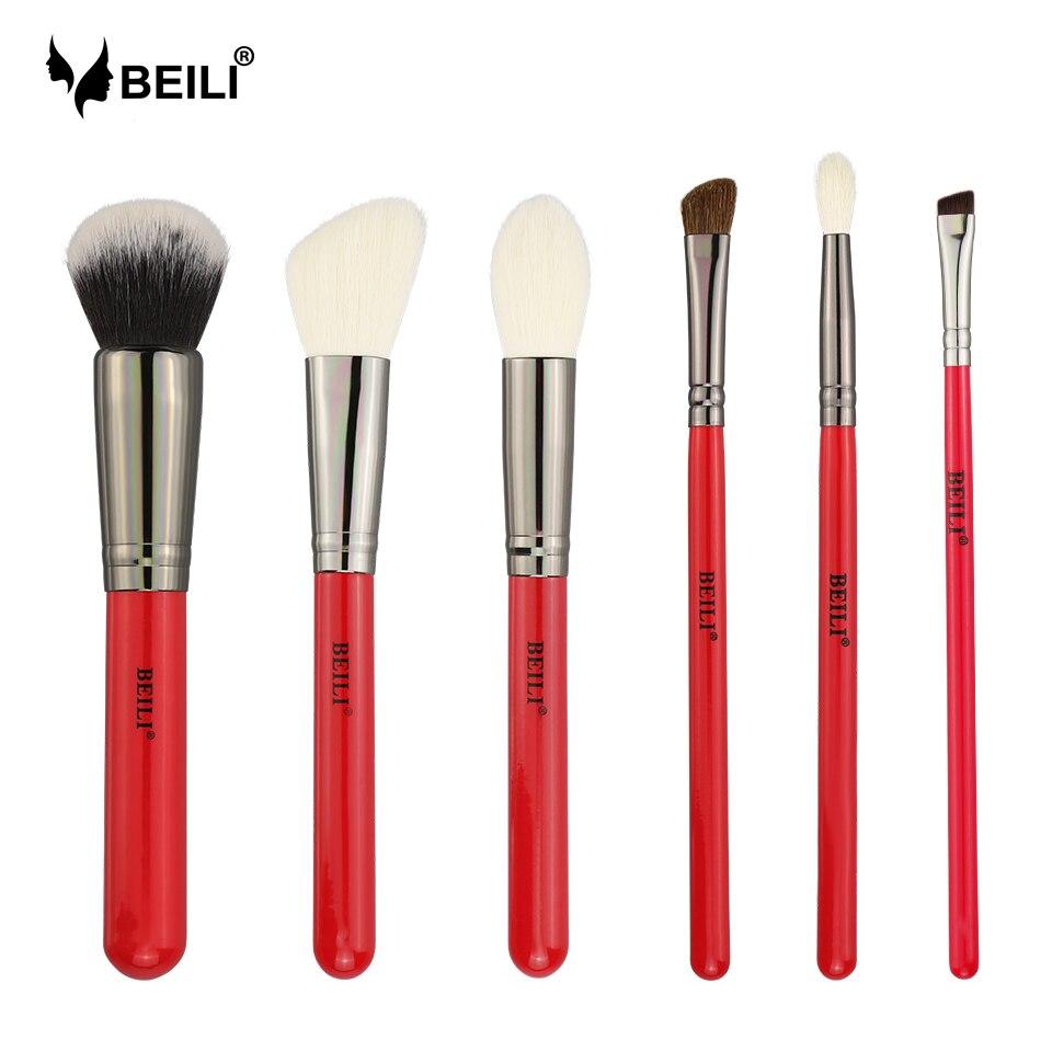 BEILI 6pcs RedHandle Makeup Brushes Set Natural Goat Hair Synthetic Pony Foundation Blusher Eyeshadow Highlighter Eyeliner Brush цена