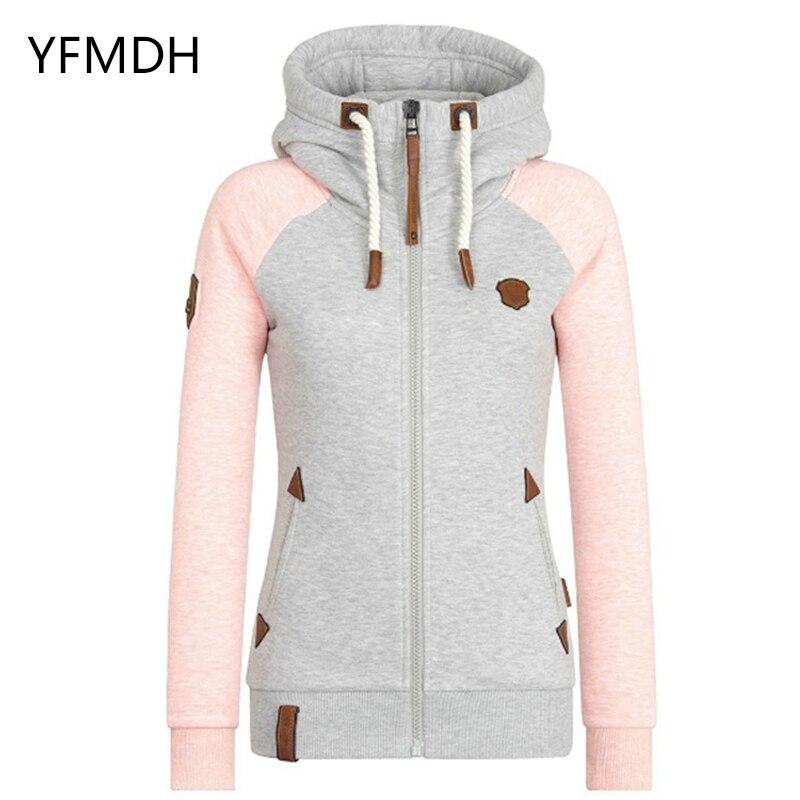 2019 Autumn Winter Women Hooded Patchwork Coat Windbreaker Female Zipper Windproof Outerwear   Basic     Jacket   Sportswear Tops S-5XL