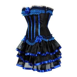 Image 2 - גותי כחול מחוכי שמלה עם חצאית תחפושות בציר פסים פרחוני תחרה עד overbust מחוך bustier לנשים בגדי ריקוד