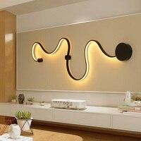 VEIHAO Modern Led Wall Lamp Living Room Bedroom Lamparas De Techo Pared Applique Murale Home Deco Sconce White Black Wall Lights