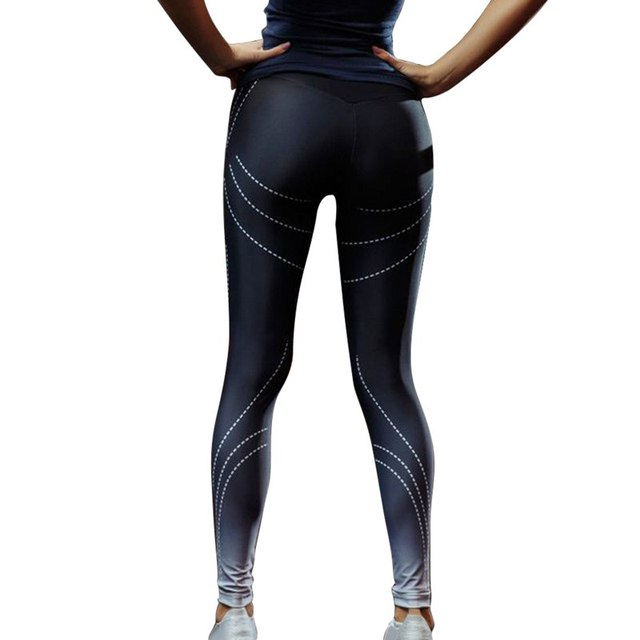 e904add86c0e3 Sexy Women Striped Print Yoga Pants Push Up Gym Sport Leggings Female  Running Tights Skinny Joggers Pants Compression Trousers