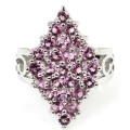 Fashion Pink Tourmaline SheCrown Created Woman's Engagement  Silver Ring 25x15mm