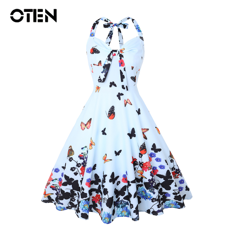 OTEN Summer Clothes Women Halter butterfly flower print bowknot pin up Rockabilly Feminino Vestidos 1950s flared A Line dresses