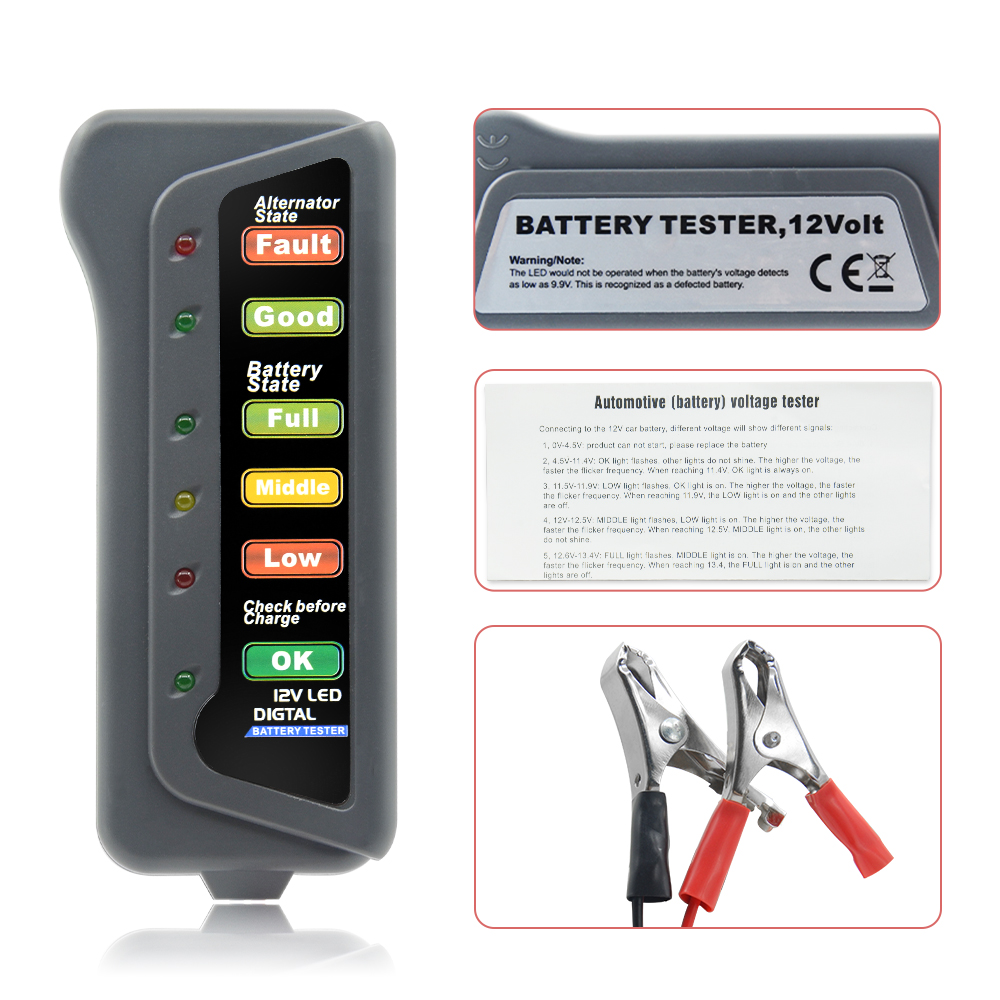Mini 12V <font><b>Car</b></font> <font><b>Battery</b></font> Tester Digital Alternator Tester 6 LED Lights Display <font><b>Car</b></font> <font><b>Diagnostic</b></font> <font><b>Tool</b></font> Auto <font><b>Battery</b></font> Tester For <font><b>Car</b></font> image