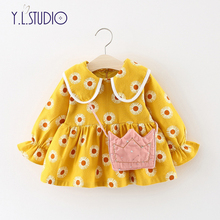 New Born Baby Girl Dress for Year Clothes Winter Warm Printing Flowers Newborns Gala Elegant First Birthday Party