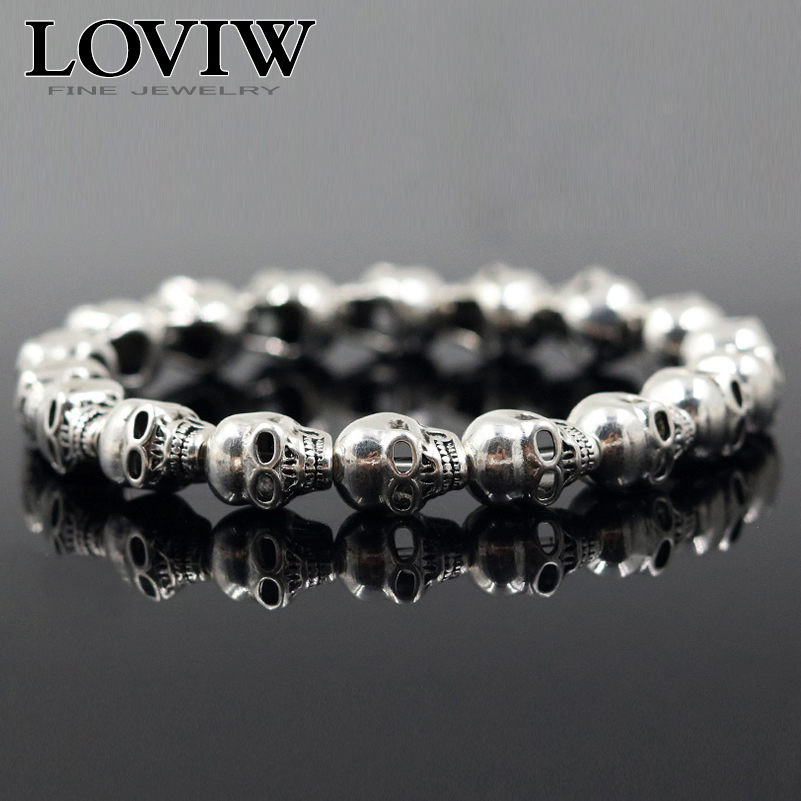 Rock hip hop Punk Skull Beads Bracelet 925 Sterling Silver thomas style skulls Jewelry cool party jewellery new Gift for women