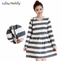 Light Gray Stripe Nursing Dress for Feeding Plus Size Women's Clothing for Feeding Breast Feeding Clothes Fall Maternity Dresses