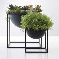 Metal Flower Pot with Europe Geometric Stand Planter Garden Home Office Balcony Decor Flower Display Rack Holder Flowerpot Shelf