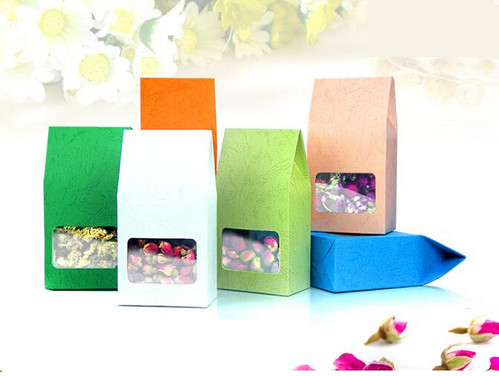 300PCS/LOT Embossing Kraft Paper tea Packaging Bag With Clear Window,retail Plastic window box For Food,Standing Up Paper bag-in Gift Bags & Wrapping Supplies from Home & Garden    1
