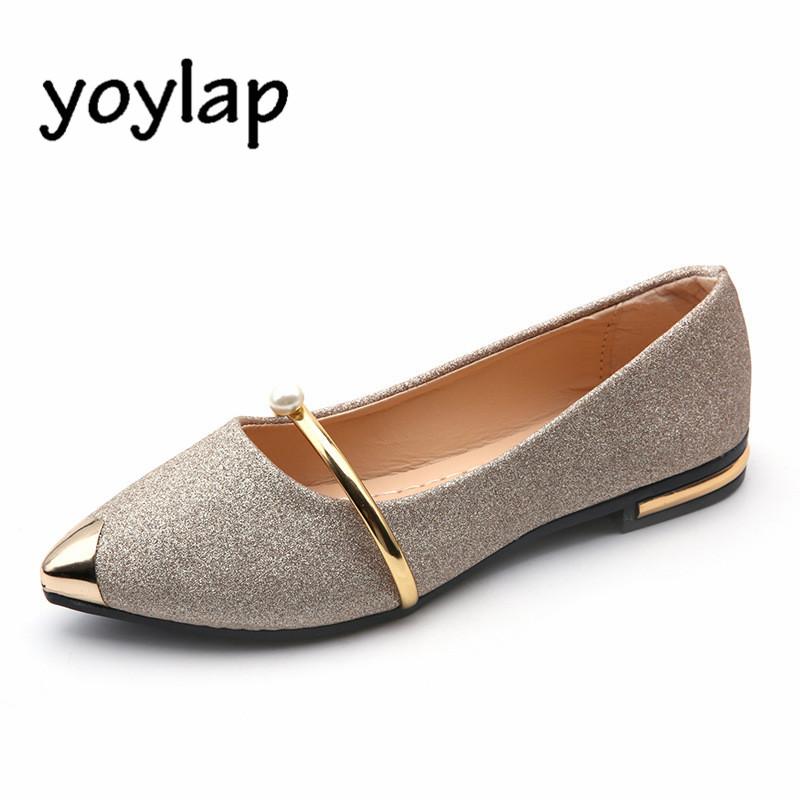 Spring 2018 New Pearl Shallow Mouth Women's Flats Shoes Comfort Point Toe Single Flat Black Silver Casual Shoes Female Wholesale cresfimix women cute spring summer slip on flat shoes with pearl female casual street flats lady fashion pointed toe shoes