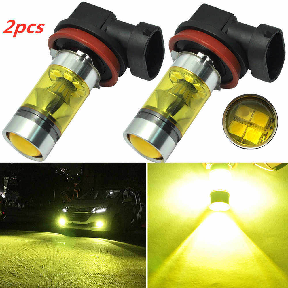 Car Fog Lights 2pcs H11 H8 12V 1000K Led Bulb High Power Lamp 2835 20SMD Daytime Running Auto Leds Bulbs Car Light Yellow Bulbs