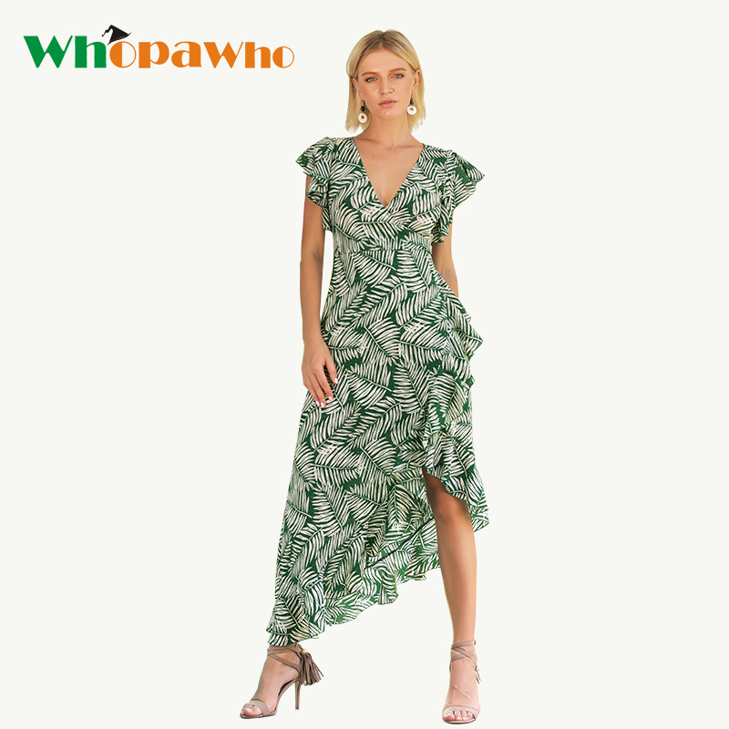 2018 New Arrival V- Neck Asymmetrical Casual Dress Ankle Length Butterfly Sleeve Beach Long Dress Summer Print Clothes