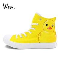Wen Hand Painted Skateboarding Shoes Custom Design Yellow Duck Graffiti Painting Sneakers Women Men Athletic Flat