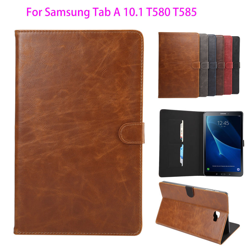 Flip Case Cover For Samsung Galaxy Tab A A6 10.1 2016 T580 T585 SM-T580 Tablet Cases Crazy Horse pattern Smart Cover shell skin аксессуар чехол samsung galaxy tab a 7 sm t285 sm t280 it baggage мультистенд black itssgta74 1
