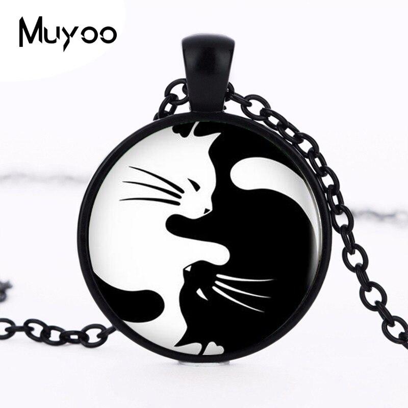Vintage Two Yin Yang Cats Necklace Pendant Kolye Cabochon Long Chain Statement Necklace For Fashion Women