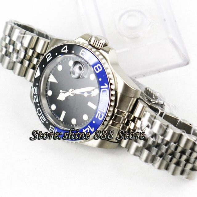 40mm PARNIS noir stérile cadran hommes montre-bracelet en céramique lunette jubilé mécanique montres saphir bleu GMT automatique hommes montre