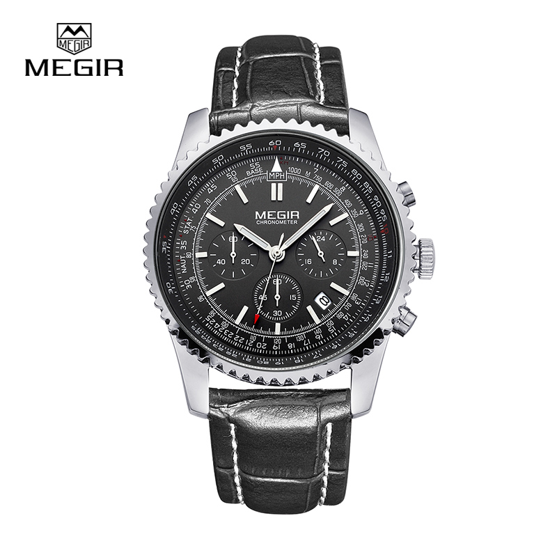 hot Megir casual brand men's quartz watches luminous stop watch for man analog wrist watch with calendar male free shipping 2009 megir fashion casual stop watches for men luminous running brand watch for man leather quartz watch male 2007 free shipping
