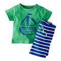 Розничная 2017 Летний Стиль детская одежда набор марка мальчик ребенок с коротким рукавом футболка + шорты 2 шт. пляж костюм детская одежда