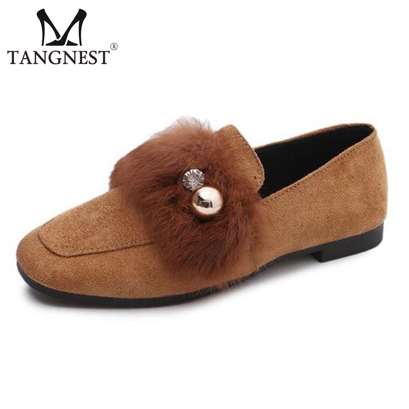 Tangnest NEW 2018 Square Toe Women's Ballet Flats Metal Ball Slip-on Casual Shoes Flock Leather Soft Faux Fur Flat Shoes XWD6130 new brand autumn women metal flat shoes casual lady slip on flats soft soled natual leather pointed toe shoes comfort female