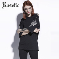 Rosetic Gothic Shirt Women Black Summer Over Size BF O-Neck Letter Print Hip Pop Buckle Half Sleeve Fashion Goth Female Tops