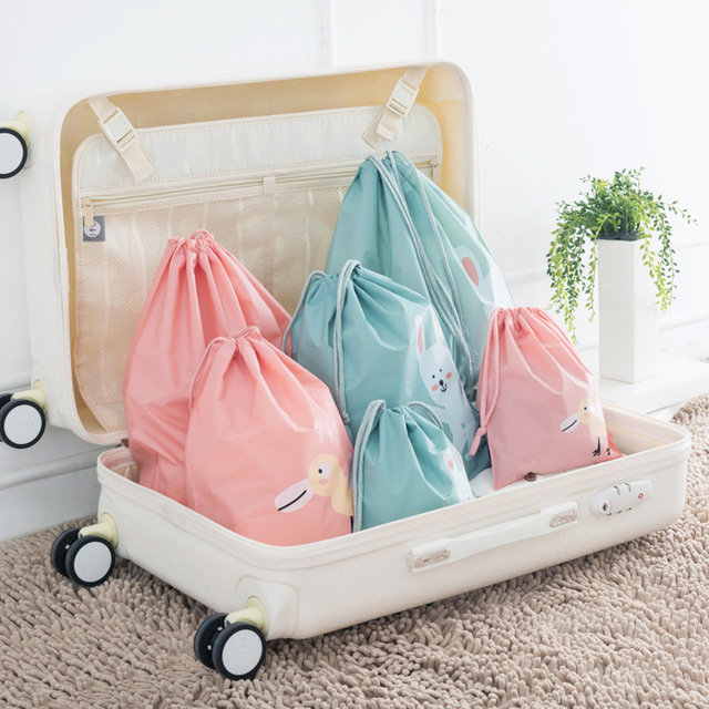 Cartoon Cute Travel Storage Bag Drawstring Backpack Shoulders Bag