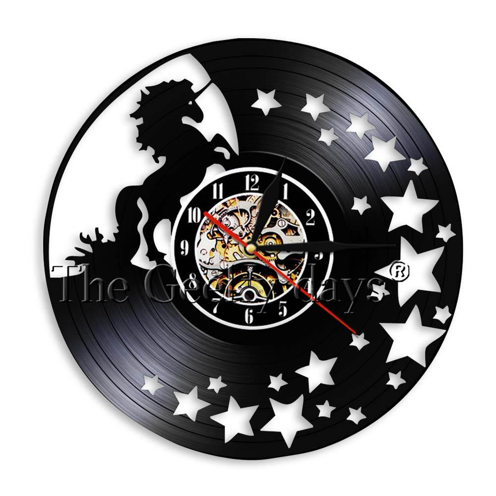 Us 16 15 Off 1 Piece Running Unicorn Vintage Vinyl Record Wall Clock Magical Stars Home Nursery Art Child Care Center Decor Watch In