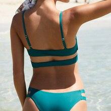 New Push Up Brazilian Bikini Set Sexy Hollow Solid Black