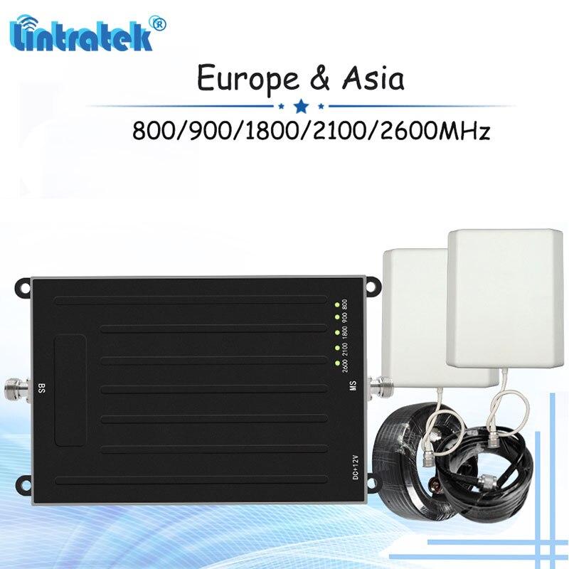 Amplificateur de Signal de téléphone portable Lintratek 2G 3G 4G 5 bandes 800/900/1800/2100/2600 MHz répéteur de Signal GSM W-CDMA LTE ensemble d'amplificateur S31